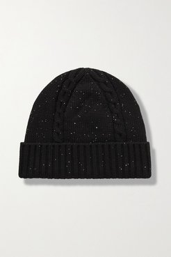 Sequin-embellished Cable-knit Cashmere-blend Beanie - Black