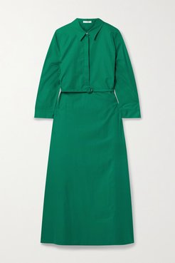 Tanita Belted Cotton-poplin Midi Shirt Dress - Green