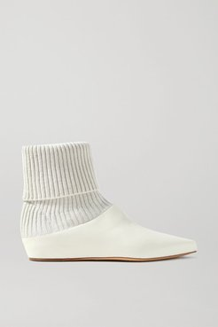 Rocia Leather And Cashmere Sock Boots - Ivory