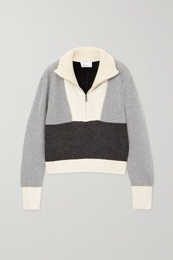 Cropped Color-block Lurex And Ribbed Chenille Sweater - Gray