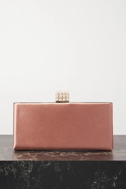 Celeste Faux Pearl And Crystal-embellished Satin Clutch - Pink