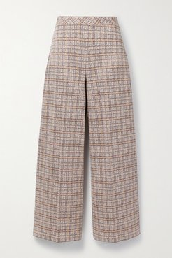 Cropped Checked Stretch-ponte Straight-leg Pants - Brown