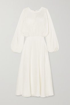 Serena Silk-jacquard Midi Dress - White