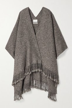 Fringed Knitted Wrap - Gray