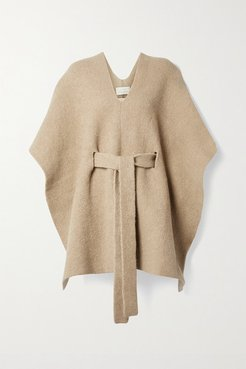 Tabard Belted Knitted Poncho - Beige