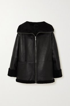 Oversized Leather And Shearling Coat - Black