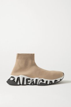 Speed Logo-print Stretch-knit High-top Sneakers - Beige