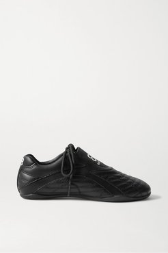 Zen Quilted Faux Leather Sneakers - Black