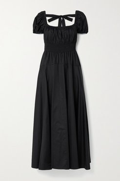 Amour Open-back Shirred Cotton-poplin Maxi Dress - Black