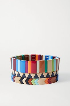 Grounded Rainbow Set Of Three Enamel And Gold-tone Bracelets - Brown