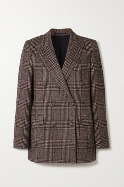 Manon Double-breasted Houndstooth Wool Blazer - Brown