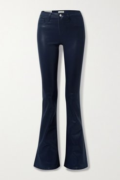 Coated High-rise Flared Jeans - Midnight blue