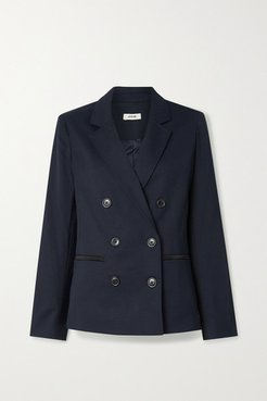 Double-breasted Satin-trimmed Twill Blazer - Navy