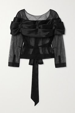 Tie-detailed Tulle And Silk-satin Top - Black