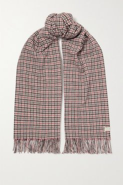 Fringed Checked Wool Scarf - Gray