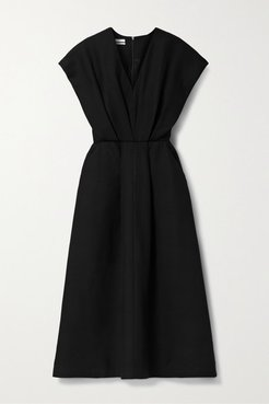 Pleated Twill Midi Dress - Black