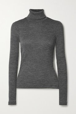 Ribbed Wool-blend Turtleneck Sweater - Gray