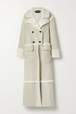 Double-breasted Shearling Coat - Ivory