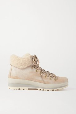 St. Anton Shearling-lined Nubuck Ankle Boots - Off-white