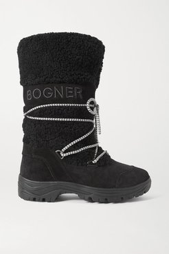 Alta Badia Embroidered Suede And Shearling Snow Boots - Black