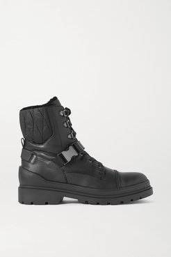St. Moritz Shearling-lined Leather And Quilted Shell Ankle Boots - Black