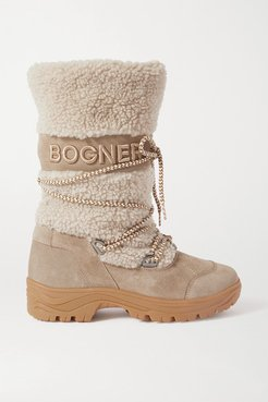 Alta Badia Embroidered Suede And Shearling Snow Boots - Gray