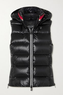 Lou Quilted Glossed Down Ski Vest - Black