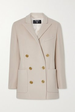 Double-breasted Wool And Cashmere-blend Blazer - Beige