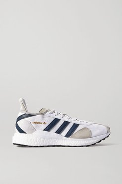 Human Made Tokio Solar Leather-trimmed Suede And Mesh Sneakers - White
