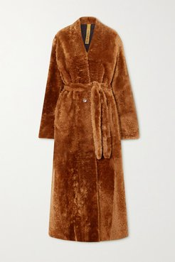 Mae Belted Shearling Coat - Brown