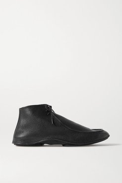 Car Textured-leather Ankle Boots - Black