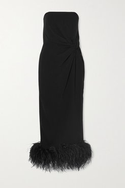 Himawari Strapless Feather-trimmed Knotted Crepe Midi Dress - Black