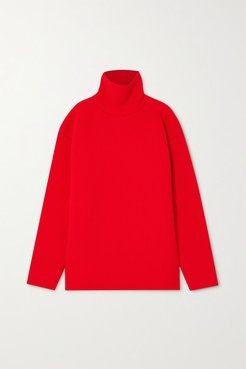 Oversized Ribbed-knit Turtleneck Sweater - Red