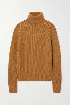 Ribbed-knit Turtleneck Sweater - Camel