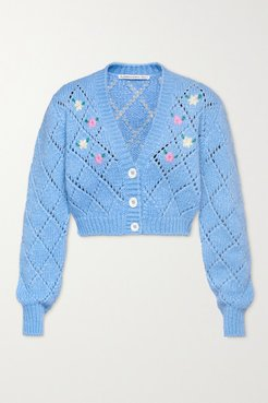 Cropped Embroidered Pointelle-knit Alpaca-blend Cardigan - Light blue