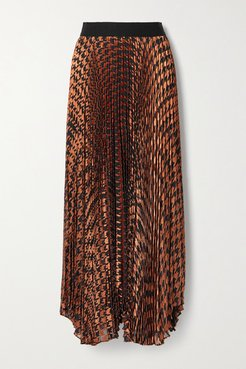 Alice Olivia - Pleated Metallic Fil Coupé Chiffon Maxi Skirt - Brown