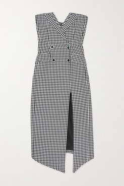 Embellished Strapless Houndstooth Cotton And Wool-blend Midi Dress - Black