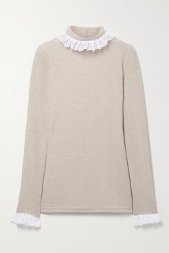Escalada Ruffled Lace-trimmed Stretch-knit Turtleneck Sweater - Beige