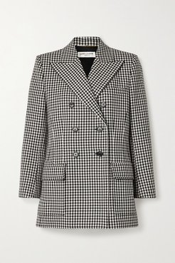 Double-breasted Checked Wool Blazer - Black