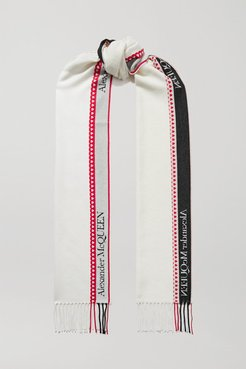 Fringed Wool And Cashmere-blend Jacquard Scarf - Ivory