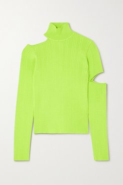 Jessica Embellished Cutout Neon Cable-knit Turtleneck Sweater - Green
