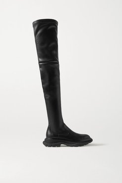 Leather Exaggerated-sole Over-the-knee Boots - Black
