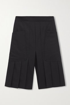 Pleated Wool Shorts - Black