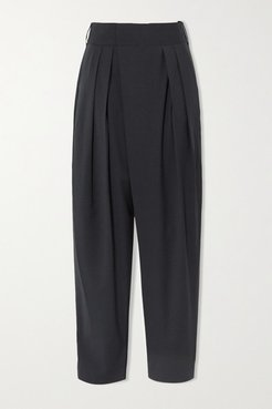 Pleated Woven Tapered Pants - Charcoal
