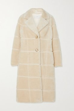 Checked Faux Shearling Coat - Cream