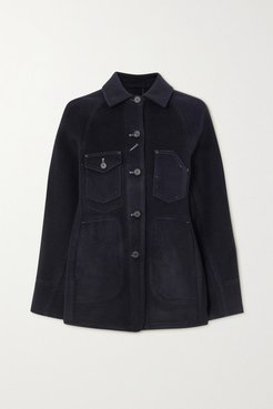 Topstitched Wool-blend Jacket - Navy
