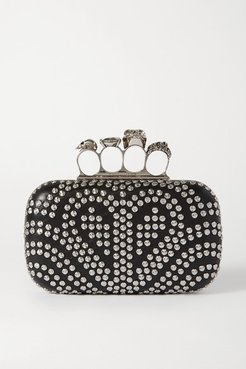 Box Studded Leather Clutch - Black