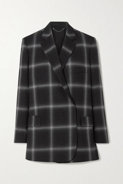Oversized Checked Wool-twill Blazer - Black