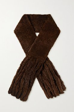 Oversized Fringed Shearling Scarf - Brown