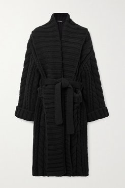 Oversized Belted Cable-knit Wool And Cashmere-blend Cardigan - Black